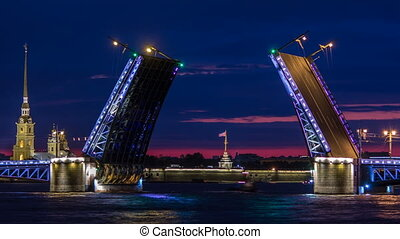 View of the open Palace Bridge timelapse, which spans - the spire of Peter and Paul Fortress