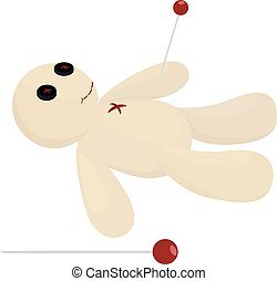 Halloween voodoo doll with pin vector
