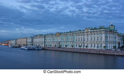 The winter Palace day to night timelapse and pier on the Palace embankment in summer in Saint-Petersburg