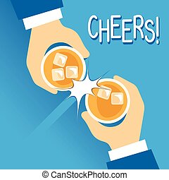 Cheers - Vector Illustration Of Two Man Toasting Their...