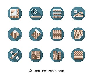Linoleum store round flat vector icons set - Materials and...