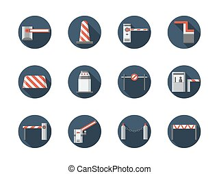 Road barriers round flat vector icons set - Road closed...