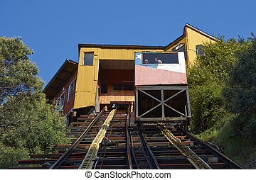 Funicular in Valparaiso - Historic funicular Ascensor...