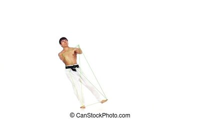 Karate man with a fier line. White background