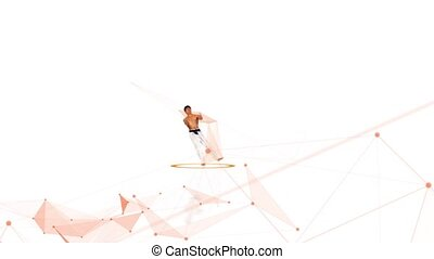 Karate man with a abstract line. White background - Karate...