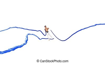 Karate man with a energy line White background - Karate man...
