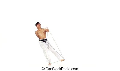 Karate man with a fier line. White background - Karate man...