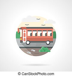 Red bus flat color detailed vector icon - A side view of a...