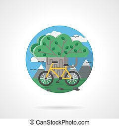 Tree and bike color detailed vector icon - Abstract green...