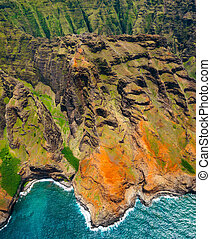 Aerial landscape view of spectacular Na Pali coastline from...