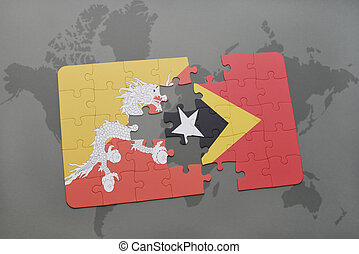 puzzle with the national flag of bhutan and east timor on a world map background.