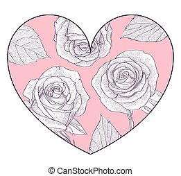 Pink heart with hand drawn roses