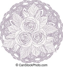 Mandala with bouquet of three roses isolated on white...