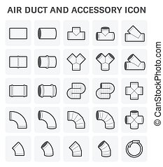 Air Duct Icon - Vector icon of air duct and accessory