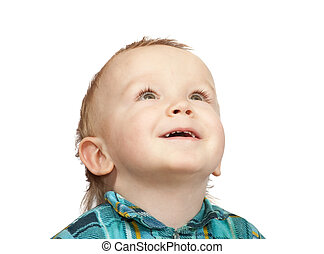 Smiling two-year boy in  chequered shirt, isolated on white