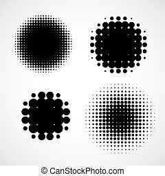 Abstract Halftone Backgrounds. Vector Set of Isolated Modern Design Element