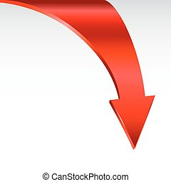 Red arrow and neutral white background. - Red down arrow and...