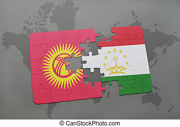 puzzle with the national flag of kyrgyzstan and tajikistan...