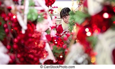 woman shopping christmas decoration