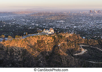 Late Afternoon Aerial of Griffith Park and Los Angeles -...