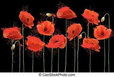 Abstract background with red poppies flowers. Vector.