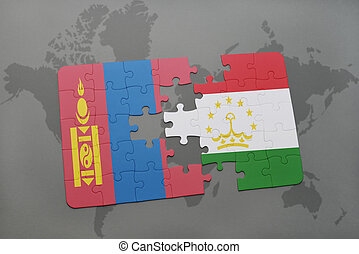 puzzle with the national flag of mongolia and tajikistan on...