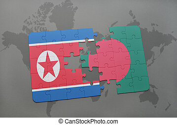 puzzle with the national flag of north korea and bangladesh...