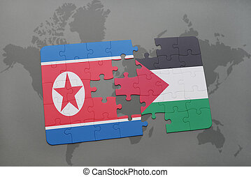 puzzle with the national flag of north korea and palestine...