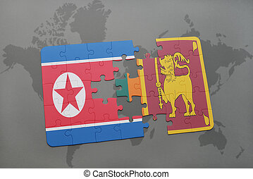 puzzle with the national flag of north korea and sri lanka...