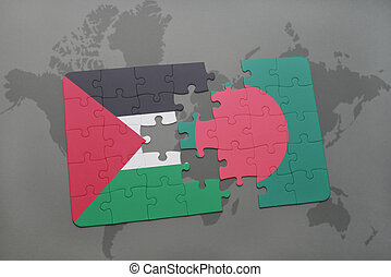 puzzle with the national flag of palestine and bangladesh on...