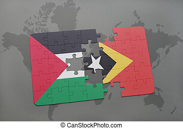 puzzle with the national flag of palestine and east timor on...