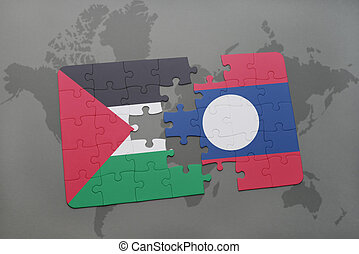 puzzle with the national flag of palestine and laos on a...