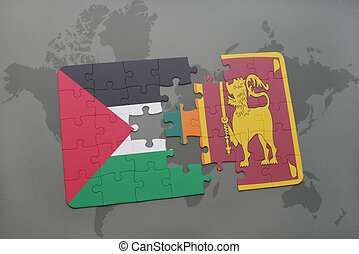 puzzle with the national flag of palestine and sri lanka on...