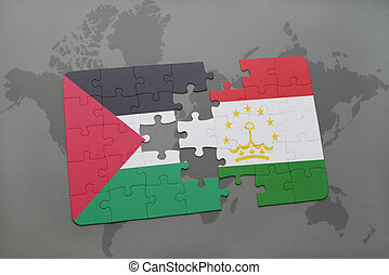 puzzle with the national flag of palestine and tajikistan on...