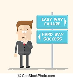Businessman or manager has to choose the direction. Quick and easy way, or complex and difficult. A man in a business suit scratching his head. Flat vector illustration in cartoon style.