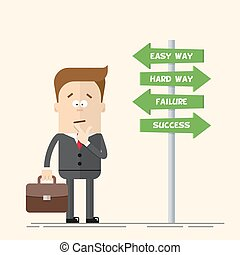 Businessman or manager has to choose the direction. Quick and easy way, or complex and difficult. A man in a business suit carrying a suitcase. Flat vector illustration in cartoon style.