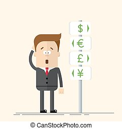Businessman or manager has the choice of currency. Signs of global currencies. A man in a business suit makes a decision. Man thinks and scratches his head. Flat vector illustration in cartoon style.
