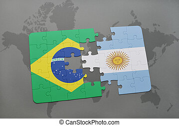puzzle with the national flag of brazil and argentina on a...