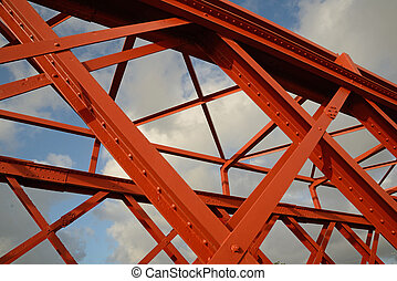 bridgework - Background of steelwork in a large truss bridge