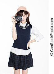 girl is a photography enthusiast - pretty girl, holding...