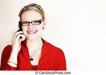 Business woman in red - Friendly business woman on her cell...