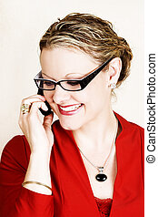 Business communications - Friendly business woman in red...