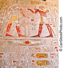 Ancient Egyptian carved wall - Ancient Egyptian Gods and...