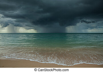 Rain storm coming - Rain storms are happening at sea.
