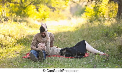 Young couple is resting