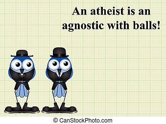 Atheism saying with bird atheist and vicar on graph paper...