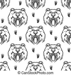 Seamless pattern with grizzly bear