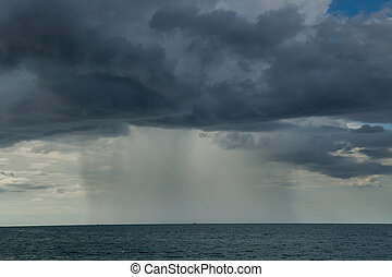 Rain storms are happening at sea