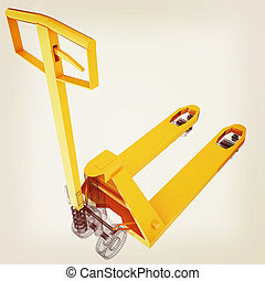 3d model pallet jack. 3D illustration. Vintage style.