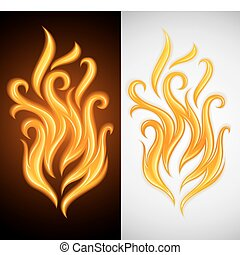 hot yellow flame symbol of burning fire illustration